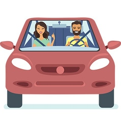 couple driving the red car vector image