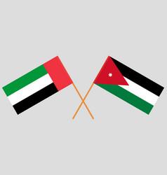 Crossed flags jordan and united arab vector