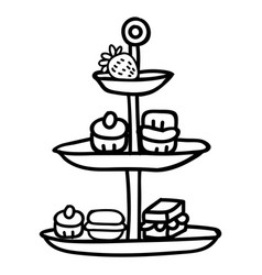 Cute afternoon tea cake stand clipart hand drawn vector