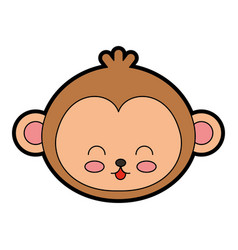 Cute monkey face cartoon vector