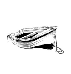 drawing wooden boat in black color vector image