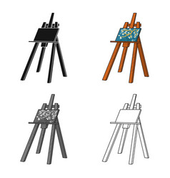 easel with masterpiece icon in cartoon style vector image