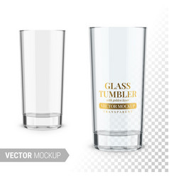 Empty clear glass tumbler template mockup vector