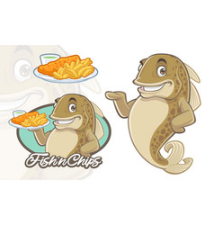 Fish and chips mascot design vector