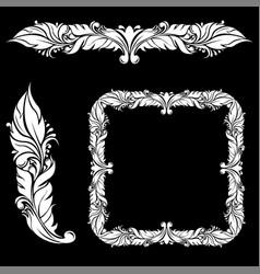 floral ornamental decorations on black background vector image