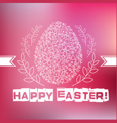 floral white easter egg on pink background vector image vector image