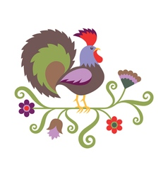 Folk art styled of rooster vector image