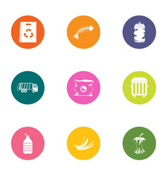 Food waste icons set flat style vector