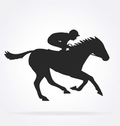 Galloping racehorse with jockey silhouette03 vector