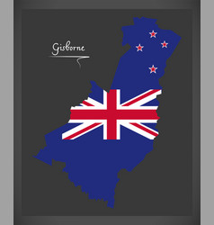 Gisborne new zealand map with national flag vector