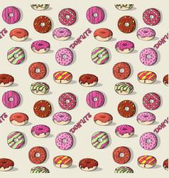 glazed doughnut set isolated donuts with glaze vector image