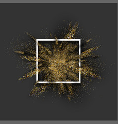 Golden glitter explosion on grey vector