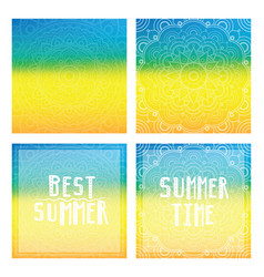 gradient backgrounds with mandala and summer cards vector image