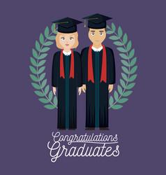 Graduation celebration card with graduated couple vector