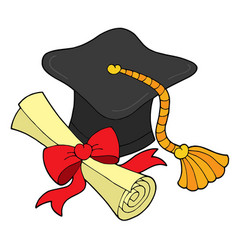 Graduation hat and scroll vector
