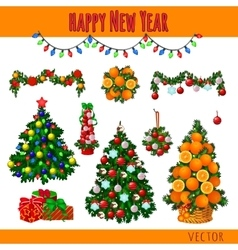 Great set of Christmas decorations and gifts vector image
