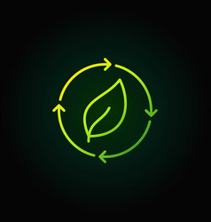 Green leaf in arrow icon vector