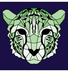 Green low poly lined cheetah vector image