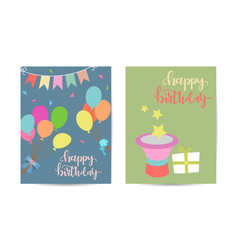 greeting card happy birthday two variants vector image
