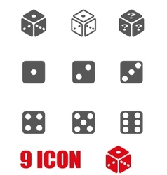 grey dice icon set vector image