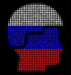 Halftone russian soldier helmet icon vector