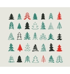 Hand drawn Christmas tree icons and elements vector image