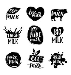 Hand drawn milk logotypess signs set for vector