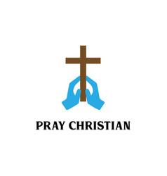 hand pray with cross religion religion logo desi vector image