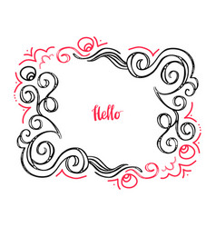 Hello doodle floral frame-02 vector