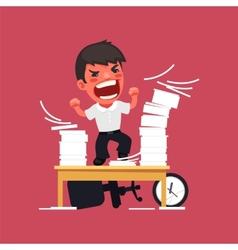 Hysterical Angry Manager Working at the Office vector