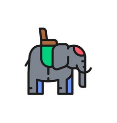 indian elephant with a saddle flat color line icon vector image