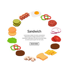 isometric burger ingredients vector image