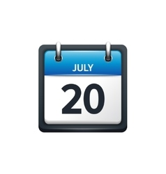 July 20 Calendar icon flat vector image