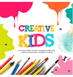 Kids art craft education creativity class concept vector