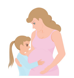 Little girl touching her pregnant mom belly vector