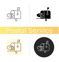Mailbox chalk white icon vector