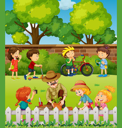 many children having fun in park vector image