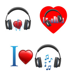 music themed promo emblems with headphones and vector image