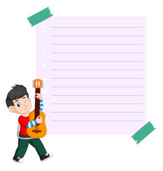 paper template with young man playing guitar vector image