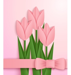 Pink paper tulips card vector