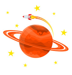 Planet icon with a rocket vector
