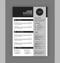 Professional resume letterhead black and white cv vector
