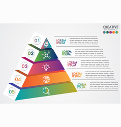 Pyramid infographic colorful template 5 steps vector