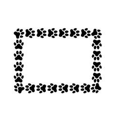 rectangular frame made paw prints vector image