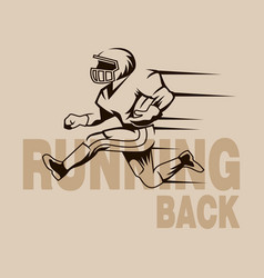 Running back graphic isolated vector