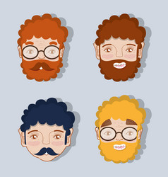 set different faces of fathers expression vector image