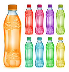 Set of plastic bottles with multicolored juices vector