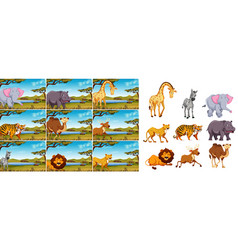 set of wild animal in nature vector image