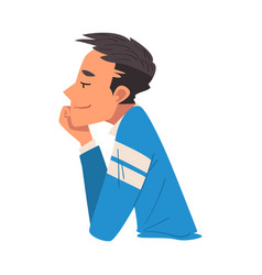 Side view thoughtful man relaxed guy dreaming vector