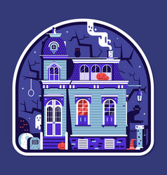 Spooky house halloween sticker vector